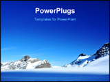 PowerPoint Template - unset on the glacier ski slopes at saas fee. 3 skiers can just be made out in the immensity of the