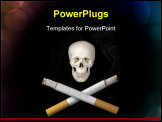 PowerPoint Template - Two cigarettes replace the usual crossbones helping to illustrate the dangers of smoking.