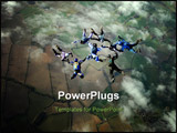 PowerPoint Template - Eight Skydivers building a formation high up in the air