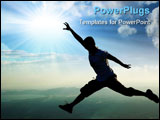 PowerPoint Template - a man jumping atop a mountain