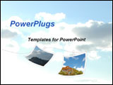 PowerPoint Template - 2 photos hanging on a cord against blue sky and clouds.