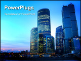 PowerPoint Template - Modern skyscrapers at night. Moscow City. Russia.