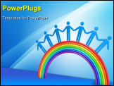 Small people standing on a rainbow