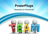 PowerPoint Template - 3d small people holding hands in the word team. 3d image. White background.