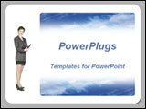 PowerPoint Template - Young businesswoman writing in a day planner and blue sky on white background