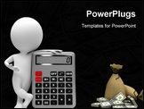 PowerPoint Template - 3d small people with the calculator. 3d image. Isolated white background.