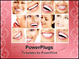 PowerPoint Template - Beautiful young woman teeth. Close up
