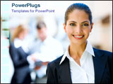 PowerPoint Template - A young business woman smiles over bright background.