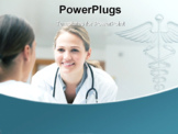 PowerPoint Template - Smiling doctor looking at a patient on a wheelchair in hospital hallway