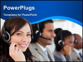 PowerPoint Template - Smiling worker doing her job with a headset while looking at the camera
