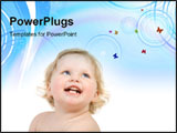 PowerPoint Template - Close-up happy pretty baby portrait . Isolate on white.