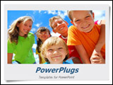 PowerPoint Template -  group of five smilling kids with a blue sky behind them will fit presentations on childhood games,