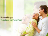 PowerPoint Template - Bright spring couple laughs happily together.