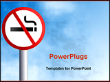 PowerPoint Template - a no smoking signpost agsinst a sky background