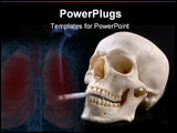 PowerPoint Template -  smoking skull (12mp camera). the skull is anatomically correct (medical model). the lighted cigare