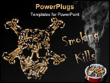 PowerPoint Template - A skull made of cigarette butts with smoke over it