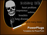 PowerPoint Template - Cigaret and smoke in the form of a human skull on a black background