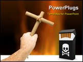 PowerPoint Template - nti Smoking concept of male hand holding crucifix made from 2 cigars tied with rope isolated on whi