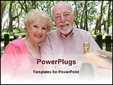 PowerPoint Template - senior couple enjoying picnic with drinks