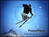 PowerPoint Template - a skier performing a jump and holding the back of one of his skis with his hand