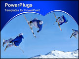 PowerPoint Template - equence of a skier jumping while crossing his skis and holding both of his skis in his hands and di