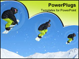 PowerPoint Template - ollage sequence of a snowboarder in black and yellow performing a jump. these images were taken in