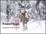 PowerPoint Template - A lot of snow falling from trees while walking in forest