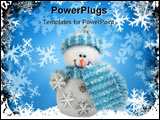 PowerPoint Template - Toy christmas snowman isolated on a white background