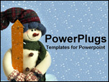 PowerPoint Template - a stuffed snowman with snow flakes in the back