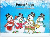 PowerPoint Template - five musical snowmen playing in a band.