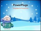 PowerPoint Template - A snowman on a snowflake background snowman