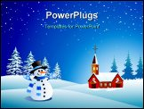 PowerPoint Template - A snowman wearing a red hat on a snowflake background