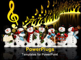 PowerPoint Template - snowmen playing music instruments isolated over black with reflection