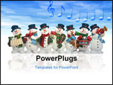 PowerPoint Template - snowmen playing music instruments isolated over white