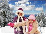 PowerPoint Template - Two girls bundled in winterwear enjoying the snow.