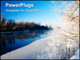 PowerPoint Template - A beautiful landscape the river and hoarfrost on trees