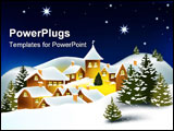 PowerPoint Template - Little snowy town. Winter @ Christmas time. File: AI8 eps