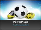 PowerPoint Template - Soccer footwear and ball on white background