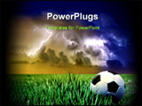 PowerPoint Template - a soccer ball on the grass field and a storm