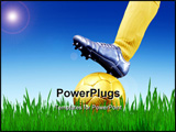 PowerPoint Template - closeup of soccer player foot with ball in a grass field