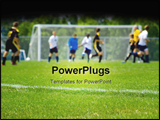 PowerPoint Template - Soccer game capture with players in backgroundshallow depth of filed. Focus on the sideline.