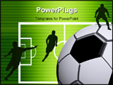 PowerPoint Template - Soccer ball Black and white texture over field background