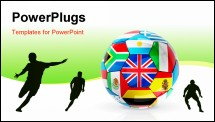 PowerPoint Template - Soccer ball from flag with reflection and shadow on white background. 3D render