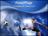 PowerPoint Template - a soccer player in acrobatics and a storm