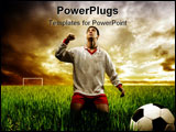 PowerPoint Template - a soccer player on the grass field
