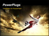 PowerPoint Template - a soccer player in a action and a sunset