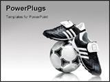 PowerPoint Template - Soccer footwear and ball isolated on light grey background
