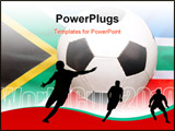 PowerPoint Template -  traditional black and white soccer ball (focus on ball) on national flag background of the rainbow