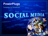 PowerPoint Template - Social media. Words cloud on blue background