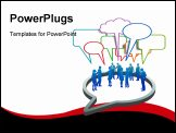 PowerPoint Template - Inner circle business people talk meet in a social media network speech bubble
